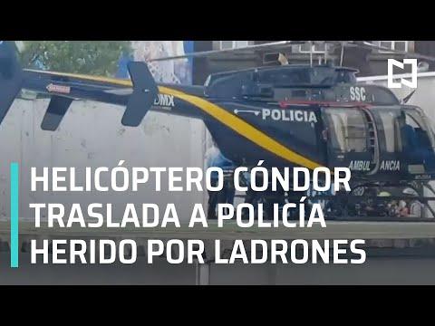Helicóptero Cóndor de la policía de CDMX traslada a policía herido - A las Tres
