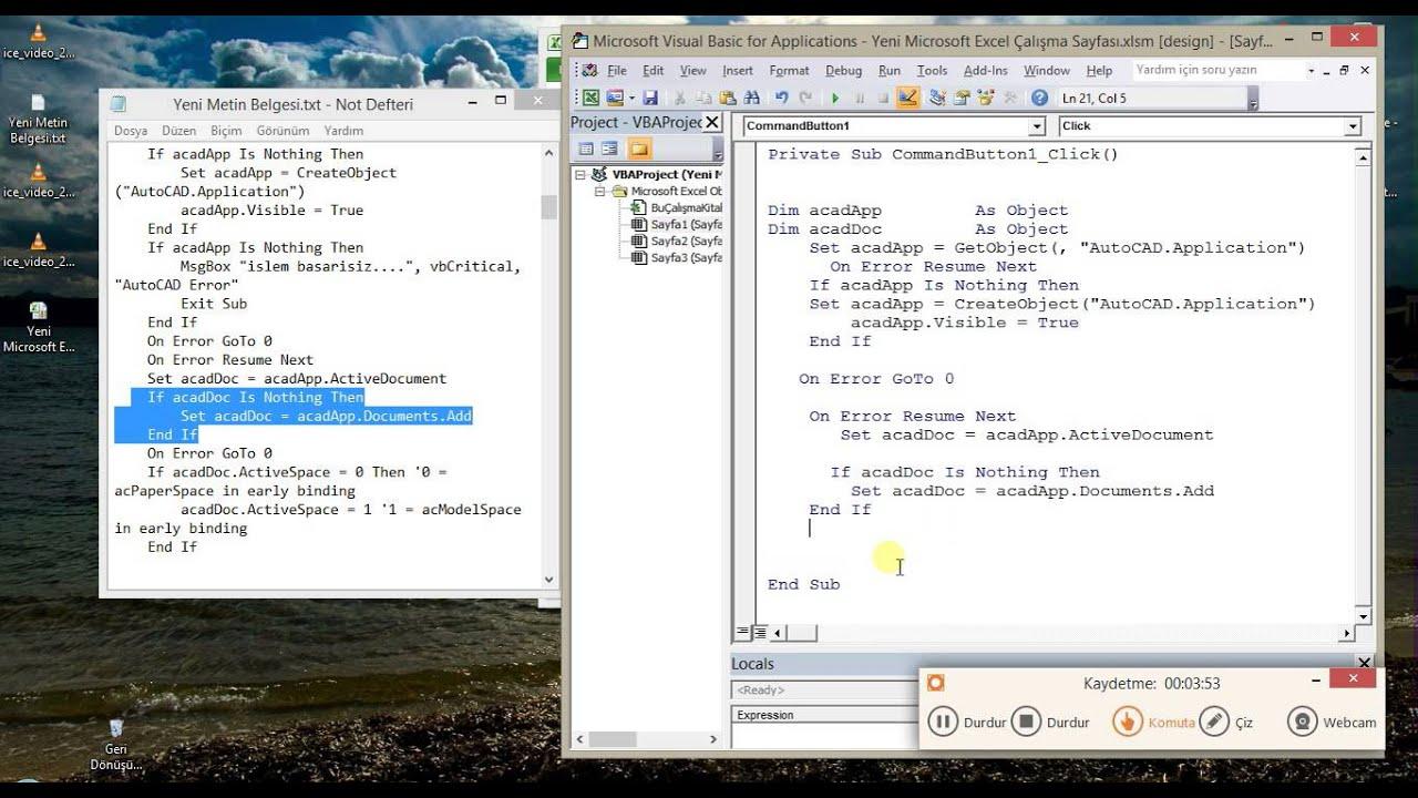 2 Excel Autoccad Vba Text Line Layer Yazi Cizgi Katman Youtube