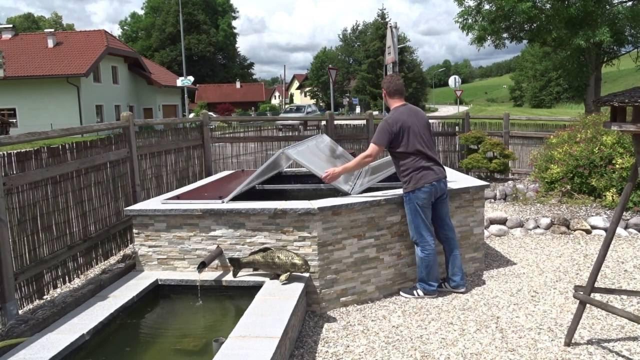 abdeckung hochteich - klappdach selbst gebaut - diy - youtube