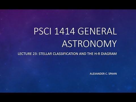 General Astronomy: Lecture 23 - Stellar Classification and the H-R Diagram