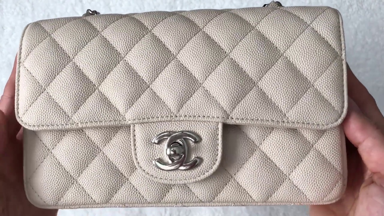24e6a2704ff391 Unboxing: Chanel Rectangular Mini 18C Light Beige Caviar with SHW ...