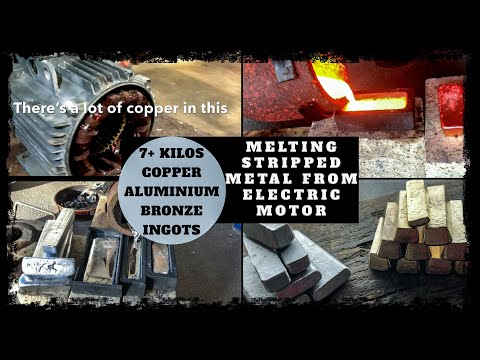 Trash To Treasure - Scrap Bin Electric Motor Melt Down into Bulk Ingots Copper & Aluminium Melting