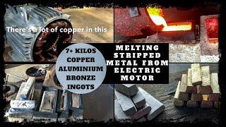 42KG Huge Motor Meltdown into Bulk Ingots Copper & Aluminium Melting