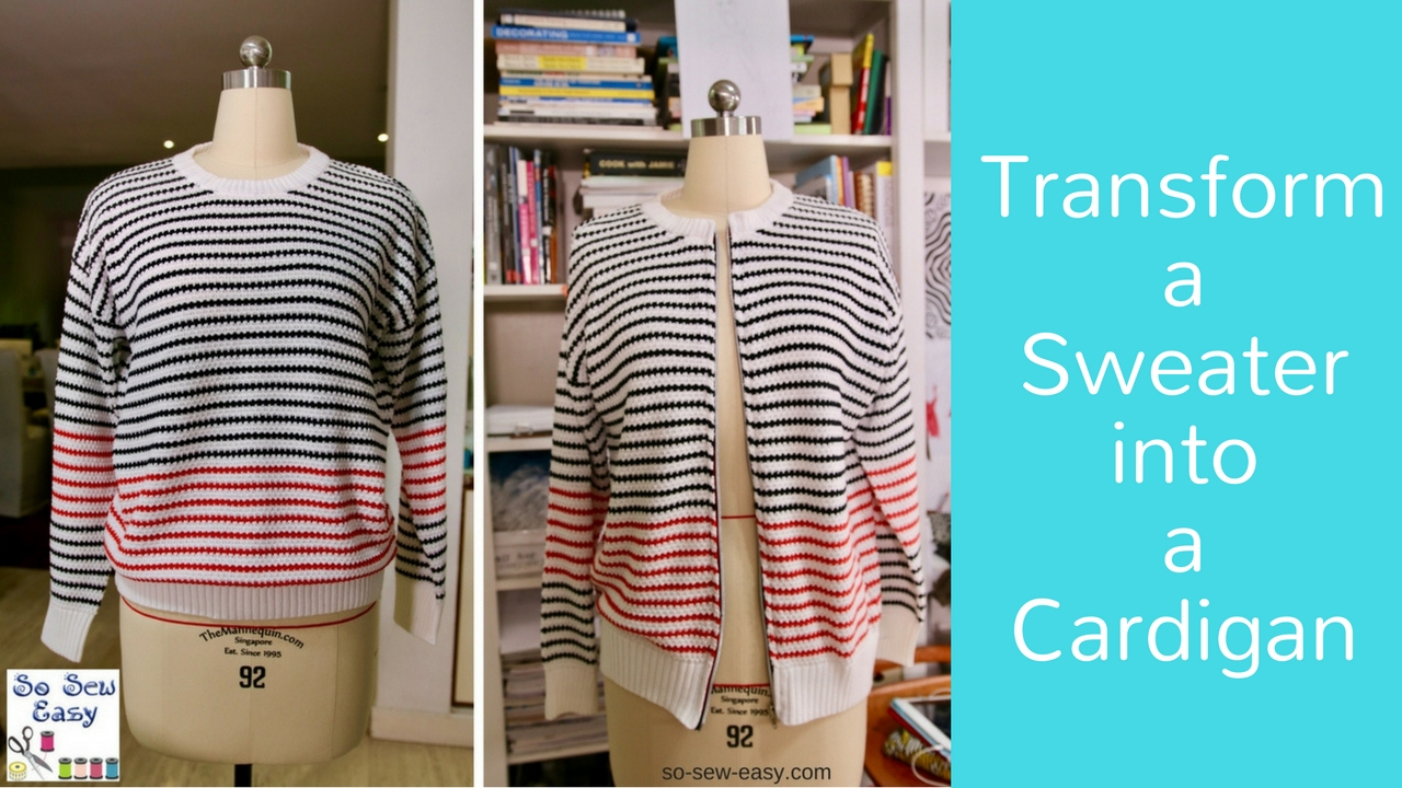 How to transform a sweater into a cardigan - YouTube