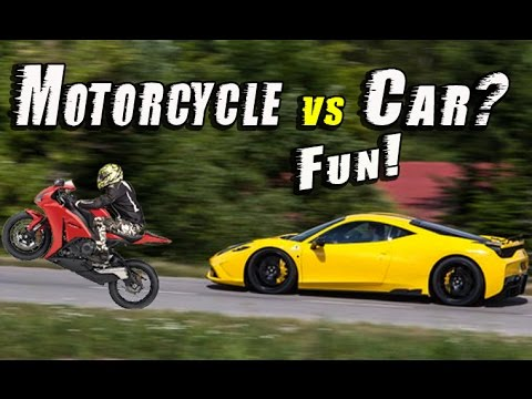 fast car vs fast motorcycle fun youtube. Black Bedroom Furniture Sets. Home Design Ideas