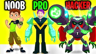 Can We Go NOOB vs PRO vs HACKER In BEN 10: UP TO SPEED!? (APP GAME!)