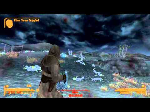 Fallout New Vegas Thor Energy Weapon Vs 50 Aliens Youtube