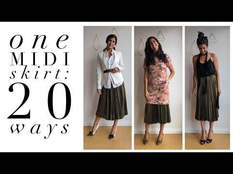 One Pleated Midi Skirt: 20 Ways! | How To Wear A Pleated Midi Skirt | Slow Fashion