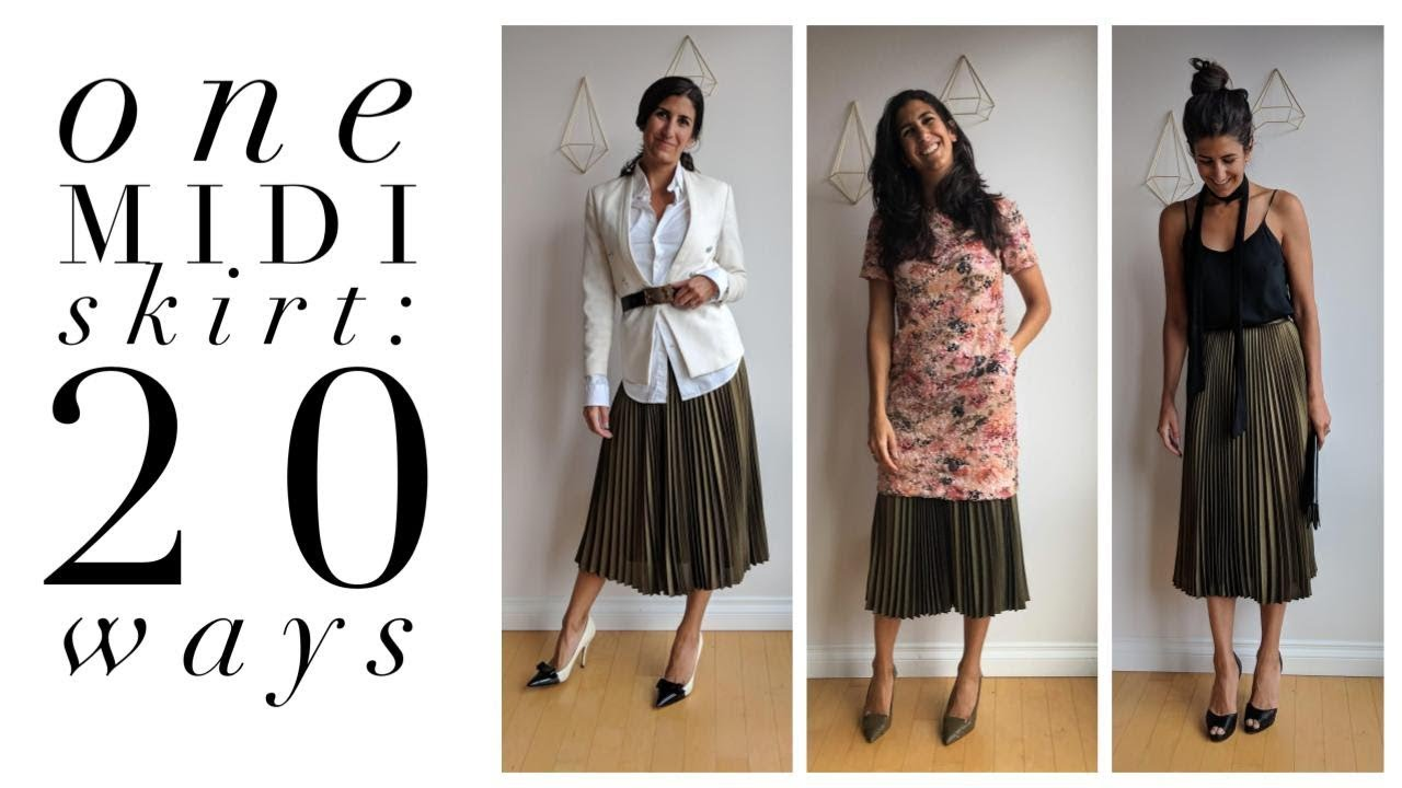 [VIDEO] - One Pleated Midi Skirt: 20 Ways!   How to Wear a Pleated Midi Skirt   Slow Fashion 1
