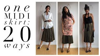 One Pleated Midi Skirt: 20 Ways! | How to Wear a Pleated Midi Skirt | Slow Fashion