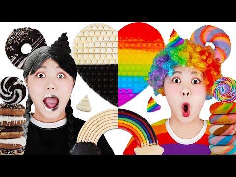 Download Color Food Challenge Push Pop it Mukbang! Rainbow vs Black and White Challenge by HIU 하이유