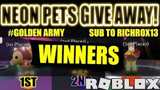 Adopt Me NEON PETS WINNERS with Awesome Quotes! -Roblox