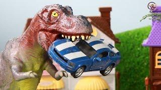 Мультик про машинки. Динозавр, трактор, монстр-траки, пожежна. МанкиМульт +5