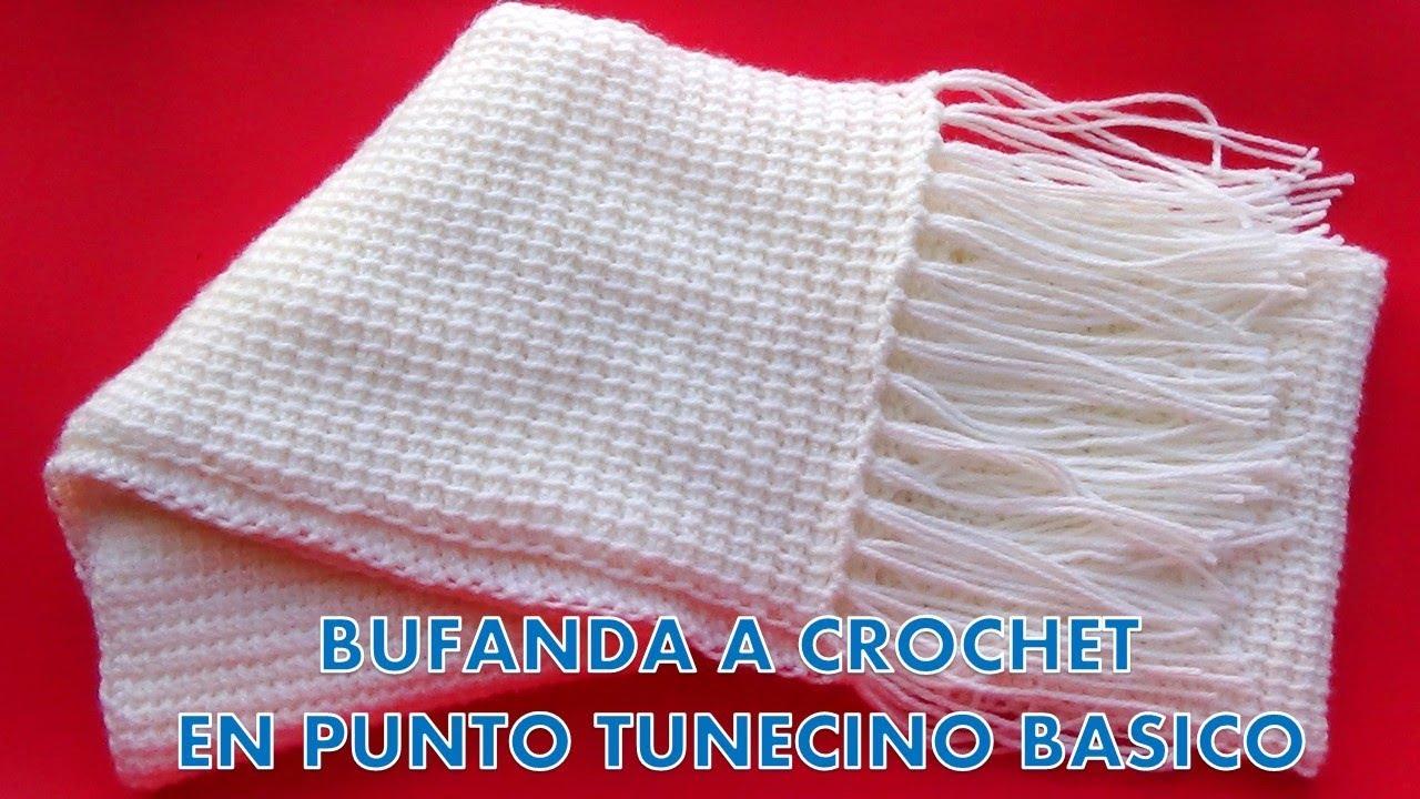 Como hacer una Bufanda o chalina UNISEX a crochet en Punto Tunecino FÁCIL Y  RÁPIDO c92d92b51510