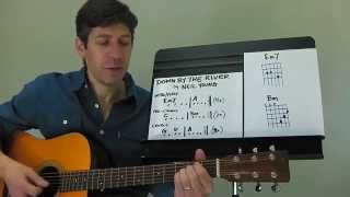 "Easy Guitar PLAY-ALONG Lesson : ""Down By The River"" by Neil Young !"