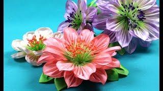 Kanzashi fabric flowers / Flores de tela kanzashi / Цветы из ткани. Канзаши