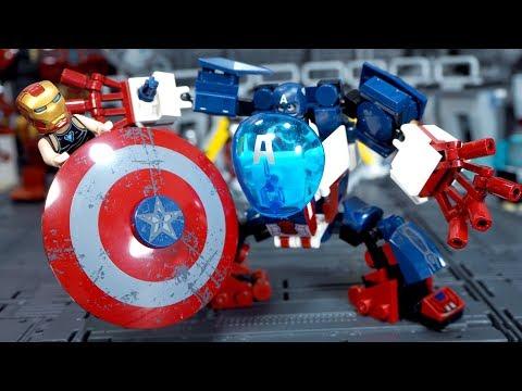 Lego Superhero Iron Man Build Captain America Mech Robot Lego Stop Motion Animation