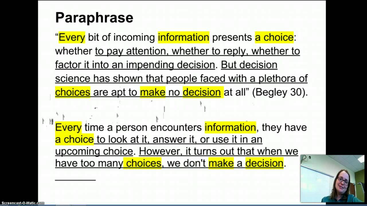 quote paraphrase summary