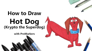 How to Draw and Color Hot Dog from Krypto the Superdog with ProMarkers [Speed Drawing]