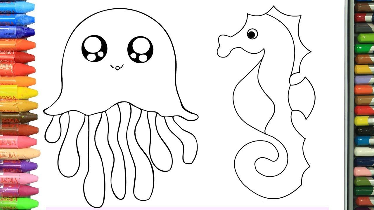 Cómo Dibujar Y Colorear Animales Marinos Dibujos Para Niños Aprender Colores Youtube
