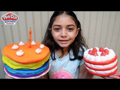 Kids Play with Squishy Strawberry Cake Play Doh