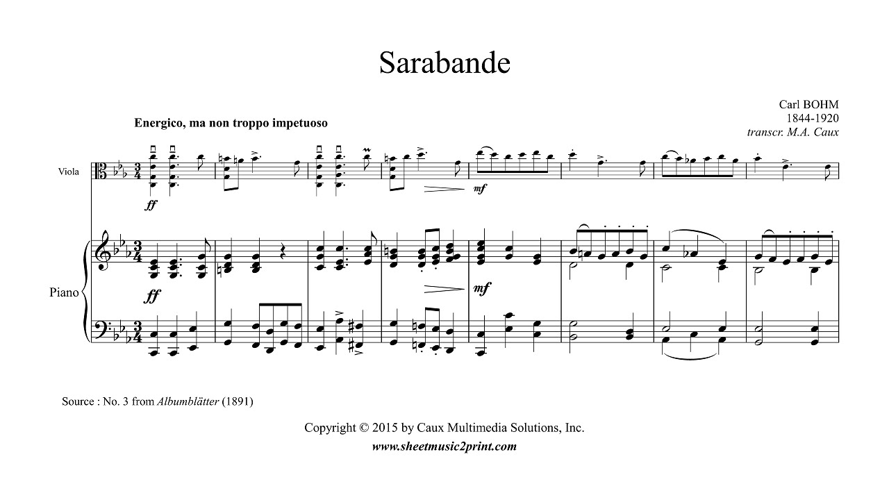 Bohm : Sarabande in C minor - Viola - Sheetmusic2print com