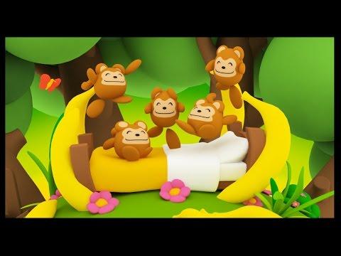 Cinq petits singes - Five Little Monkeys - Comptines anglaises en français pour bébés - Titounis