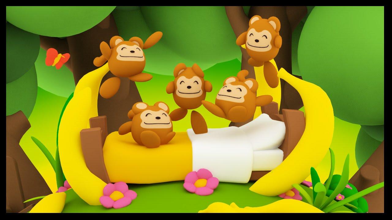 Cinq petits singes five little monkeys comptines anglaises en fran ais pour b b s titounis - Coloriage petit singe ...