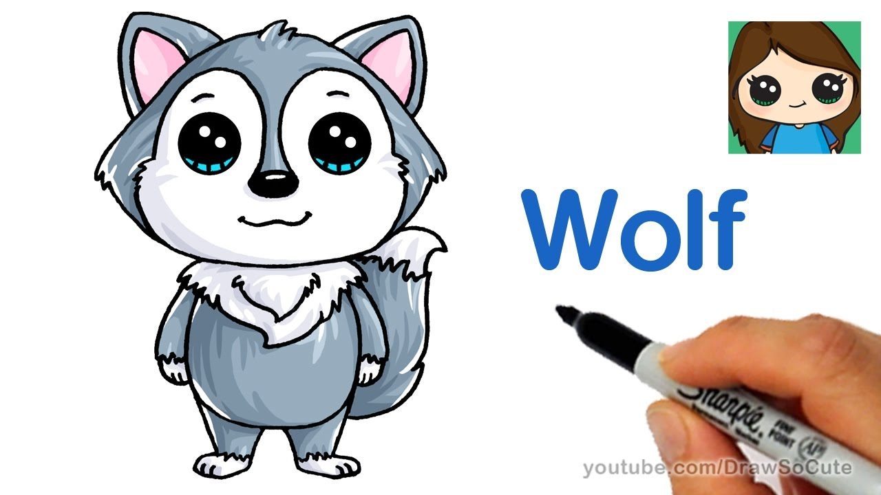 How To Draw A Cartoon Wolf Easy Youtube