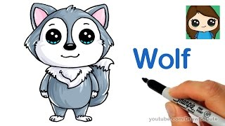 How to Draw a Cartoon Wolf easy