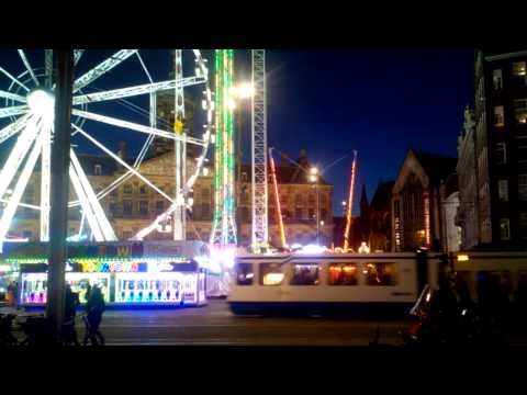 20150417 21:41 Amsterdam downtown Dam-square fair (sunset late phase)