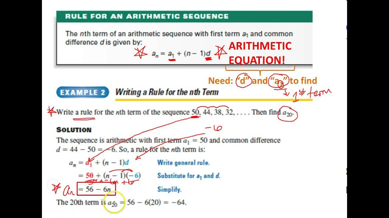 Algebra Ii   Arithmetic Sequences  Series  Youtube