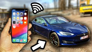 I control it with a iPhone ! (Tesla Model S)