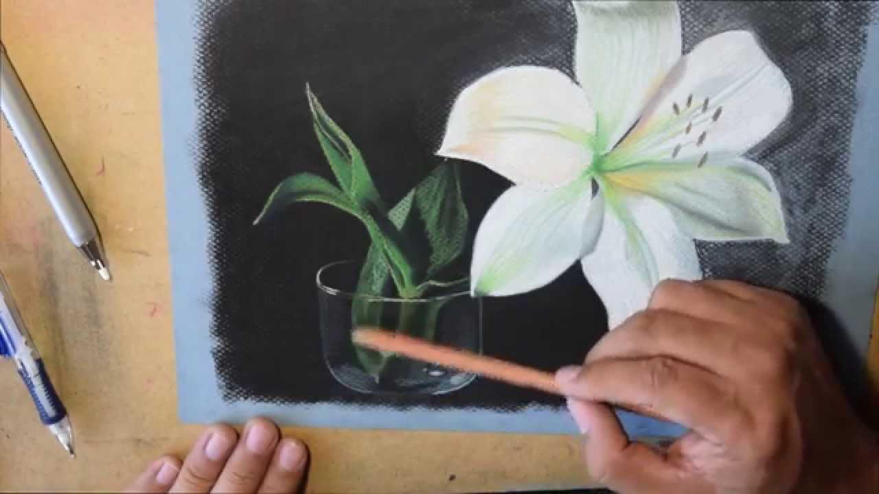 Como Pintar Y Dibujar Una Flor Con Gises Pastel Tizas Pastel