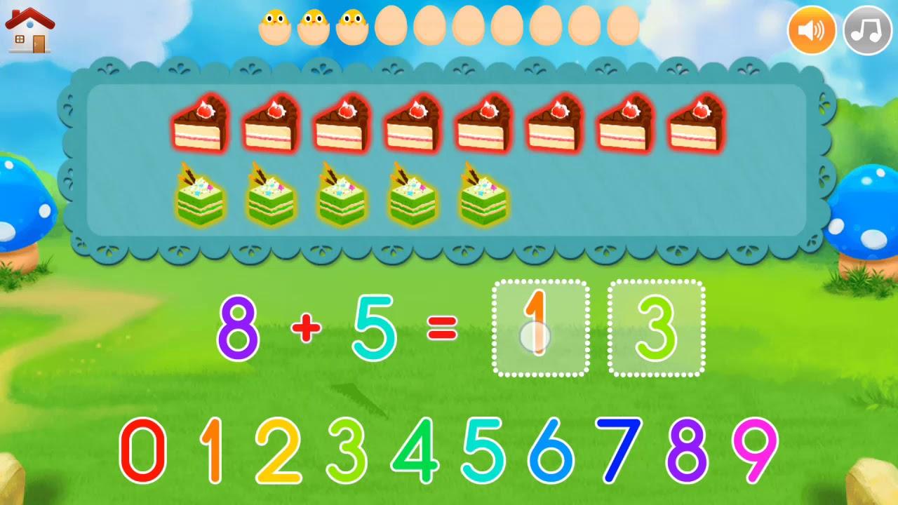 Bé học toán - phép cộng,|| phép cộng phạm vi 20. Bài 9