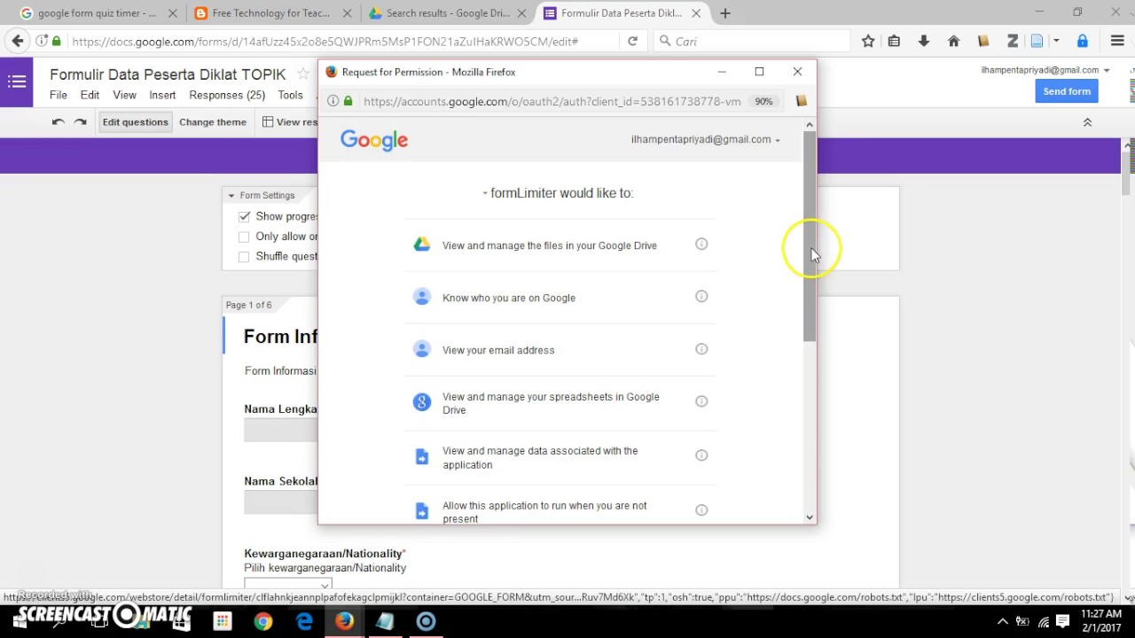 Cara Mengatur Waktu Kuis Google Form Youtube