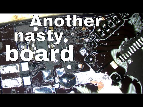 Disgusting looking board repair with footage after ultrasonic cleaning