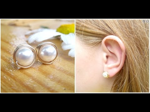 DIY Wire Wrapped Pearl Stud Earrings | Wedding Jewelry Series | eclecticdesigns