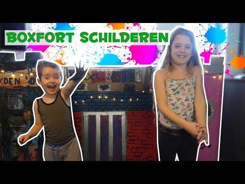 ONZE BOX FORT SCHILDEREN & ER IN SLAPEN! !! - Broer en Zus TV VLOG #126
