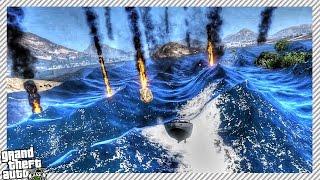 GTA 5 MOD - HUGE TSUNAMI ATTACK & METEOR SHOWER (Epic End of The World Mod)