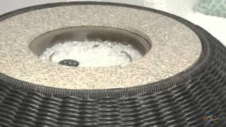 Stone Resin Wicker Design Propane Fire Pit Table With Burner Cover - Product Review Video