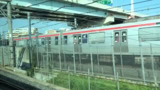 常磐線快速下り水戸行きのE531系車内から、つくばエクスプレスTX-1000系...