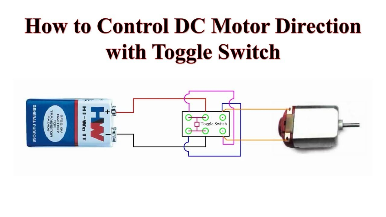 How to Control DC Motor Direction with Toggle Switch - YouTube H Bridge Dpdt Rocker Switch Wiring Diagram on