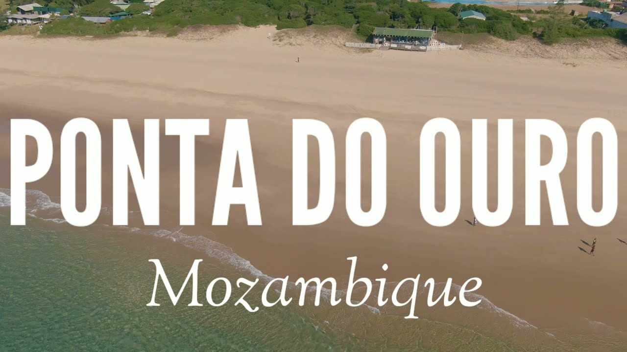 Ponta do Ouro   Mozambique   Beach and cove from above. Drone