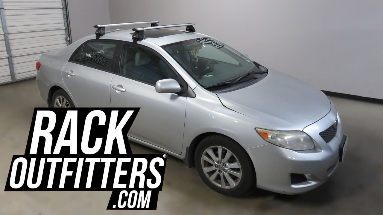 2009 to 2013 toyota corolla outfitted with the rhino rack vortex 2500 roof rack crossbars