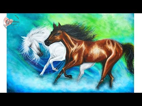 How to paint  Running Horses on a Large Canvas / Acrylic Painting Tutorial / Goodness In You