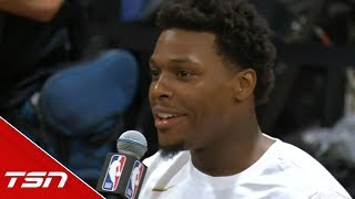 Lowry interrupts VanVleet post game with a great question