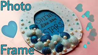 Diy Photo Frame || Sea Shells || Glitter Picture Frame || The Blue Sea Art
