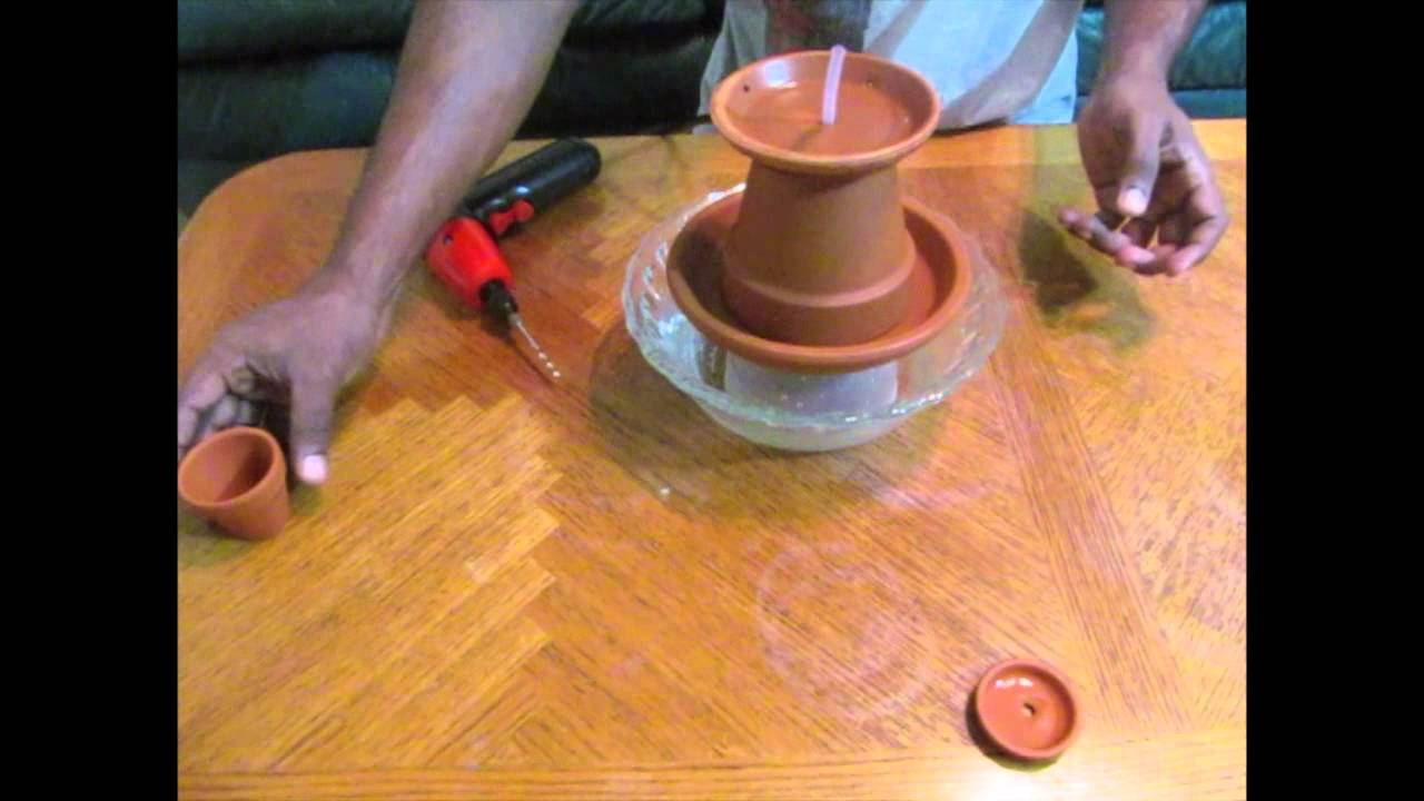How to make homemade tabletop water fountain youtube for Homemade tabletop water fountain