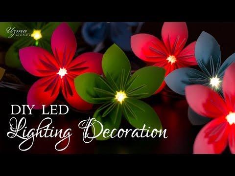 Diwali Lighting Decoration | LED string light decor using paper flowers